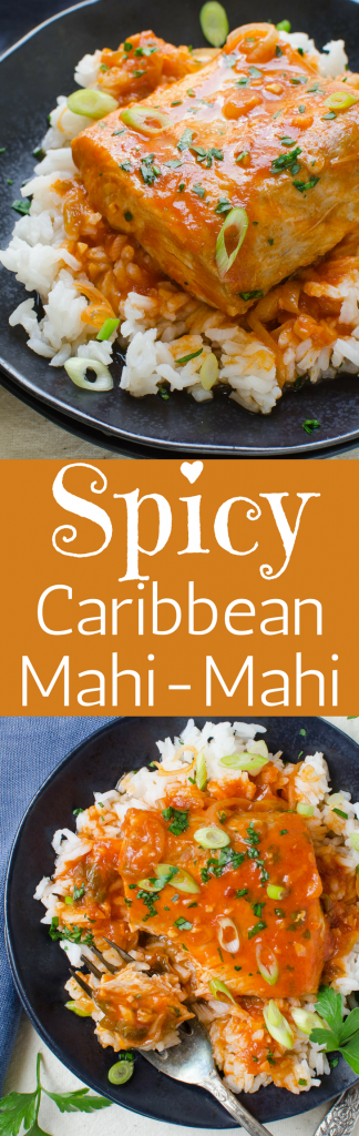 If you're skittish about cooking fish try this easy poached fish recipe. Spicy Caribbean Mahi Mahi is fresh fillets simmered in a spicy island-style tomato broth. This easy fish dinner is delicious over steamed rice. #mahimahi #fish #fishrecipes #fishdinner #poachedfish #caribbeanfish #dolphin #seafoodrecipes #poachedseafood #mahimahirecipe