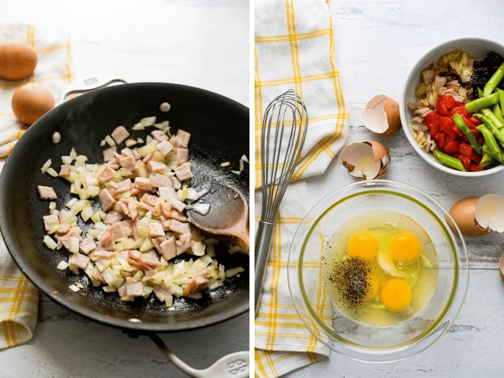 sautéing ham and veg and blending eggs for the Italian frittata breakfast for two.