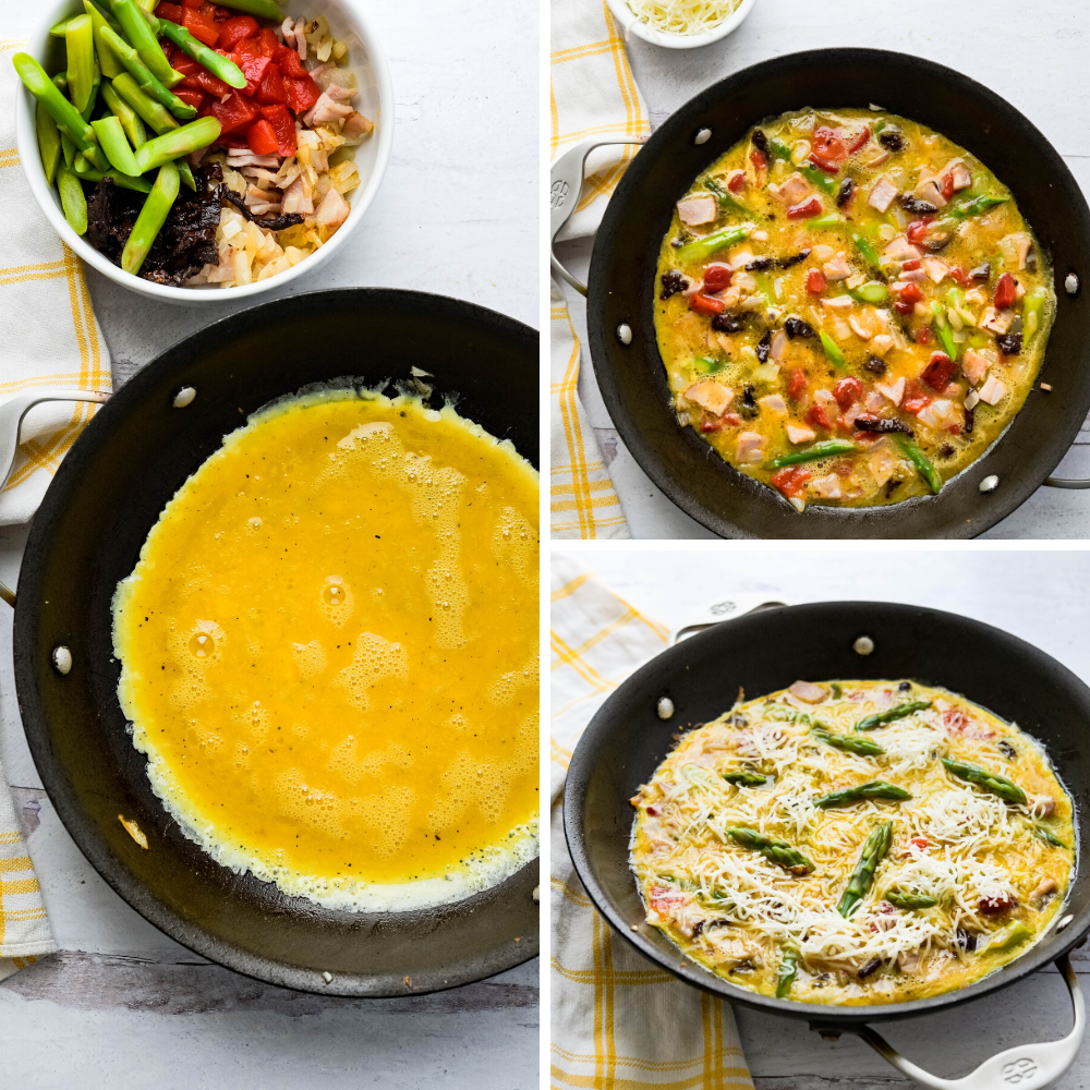 Layering the frittata ingredients in a skillet and topping with cheese and asparagus spear tips.