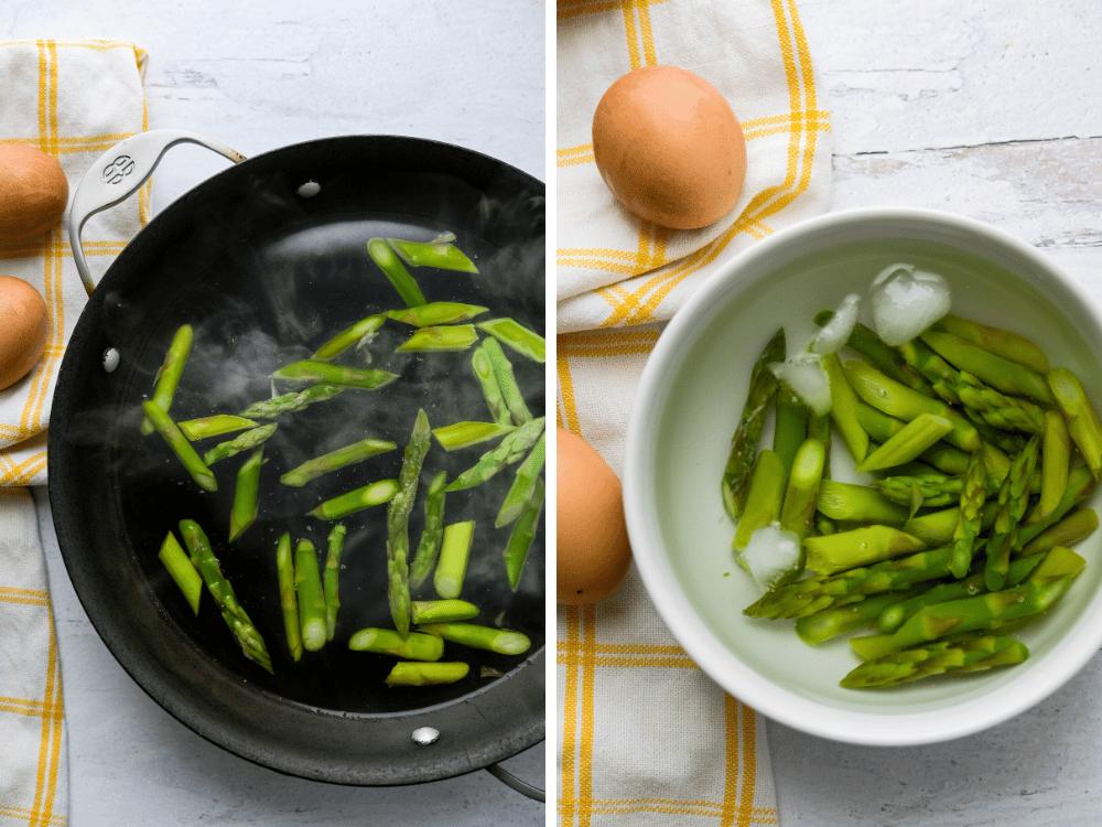 blanching and shocking asparagus.
