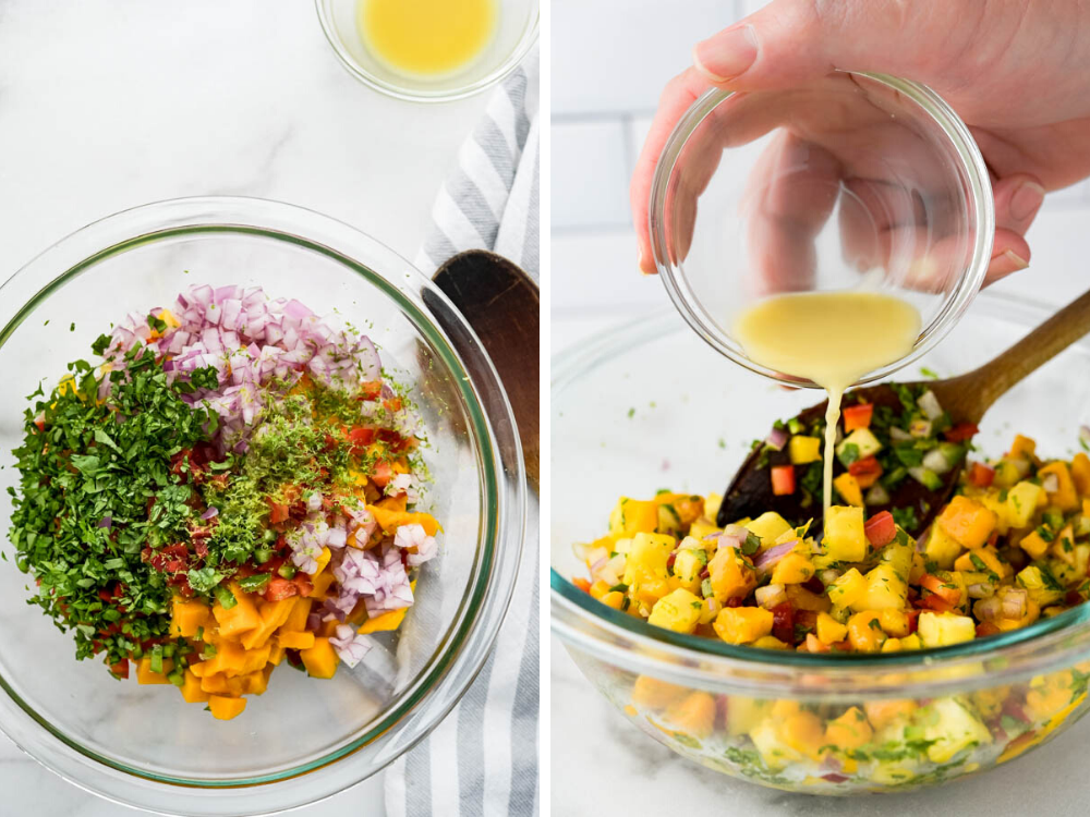 combining fresh herbs, lime zest and ginger juice with the pineapple mango salsa.