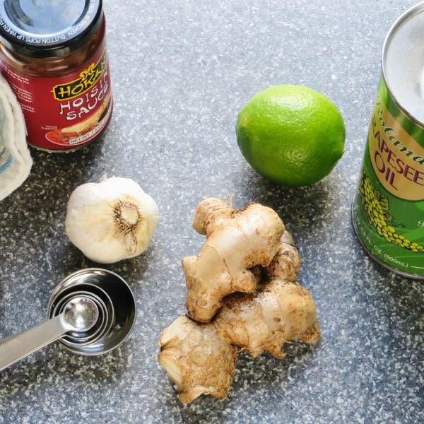 ingredients for Asian ginger dressing.