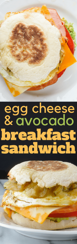 DIY Egg McMuffin with YOUR FAVORITE toppings, like creamy avocado and caramelized onions. This Egg, Cheese and Avocado Sandwich is a fast, delicious breakfast! #breakfast #brunch #sandwich #breakfastsandwich #eggsandwich #eggmcmuffin #caramelizedonions #avocado #canadianbacon #cheese #slicedcheese #eggs #friedeggsandwich #tomato #englishmuffin #hangoverbreakfast #breakfastfordinner