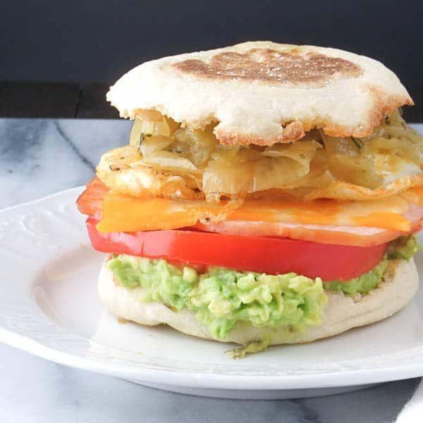 breakfast sandwich on a plate.