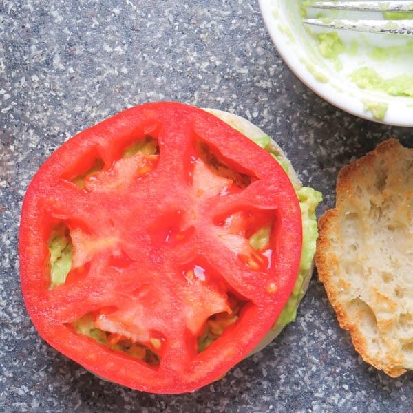 tomato on avocado