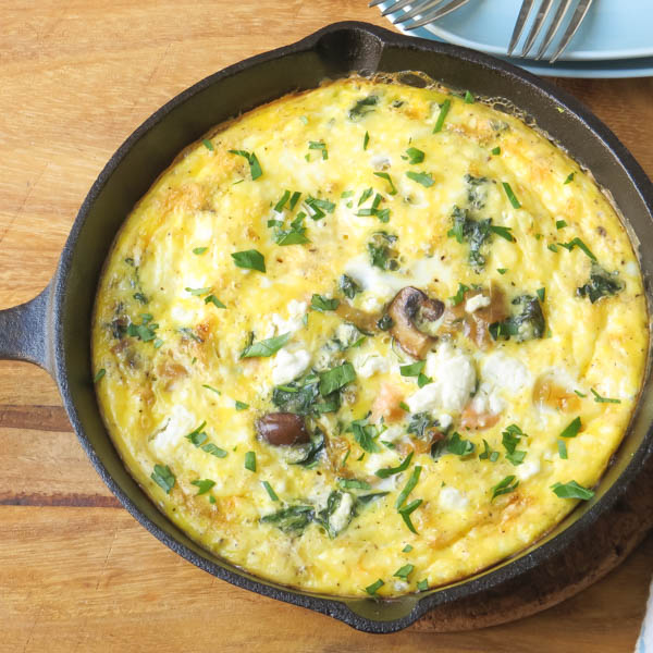 baked Salmon and Caramelized Onion Frittata