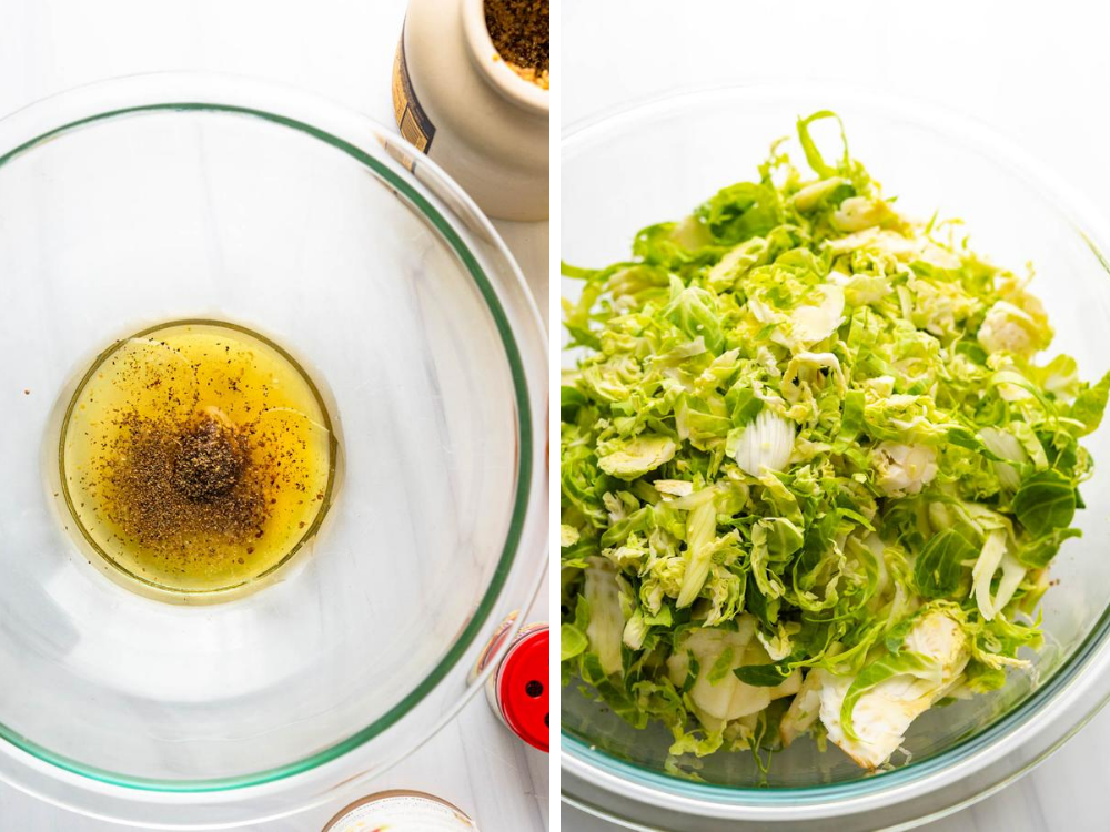 adding the slaw to a honey mustard dressing