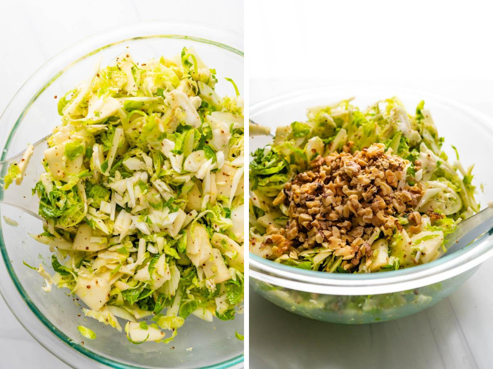 adding toasted walnuts to the fennel apple slaw.