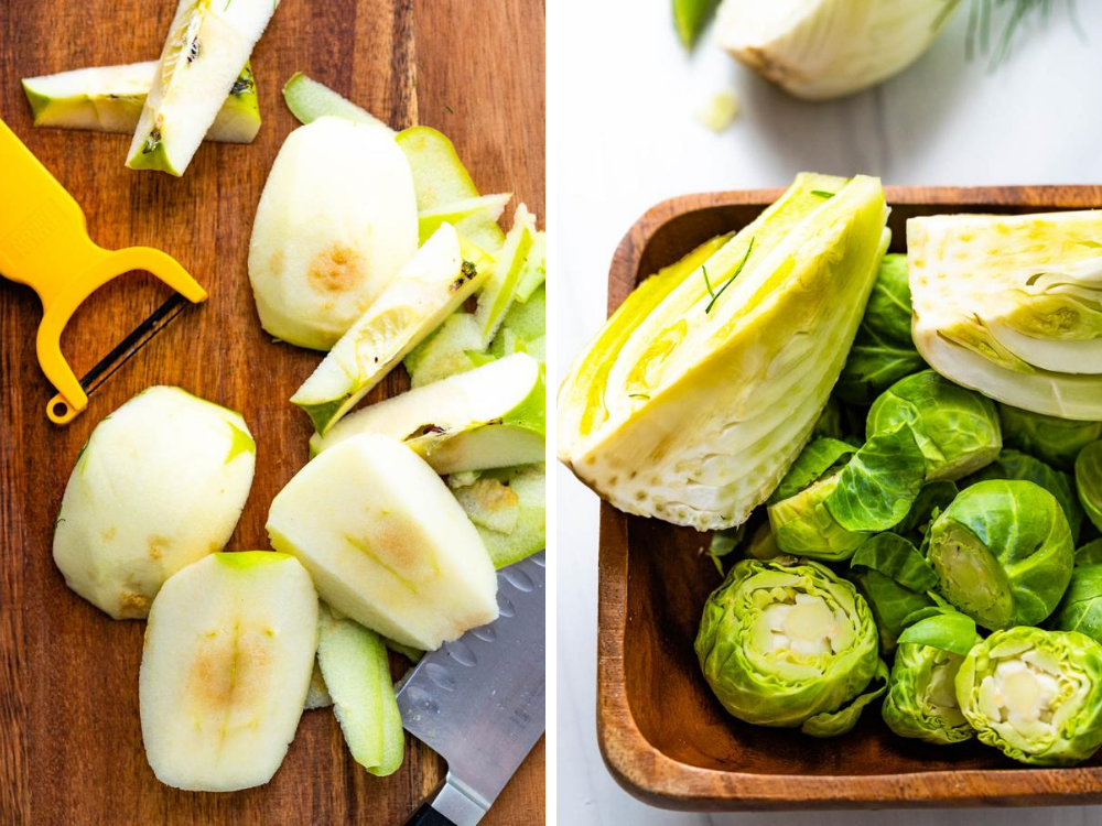prepping the veggies, and peeling the apple for the shaved brussels sprouts salad.