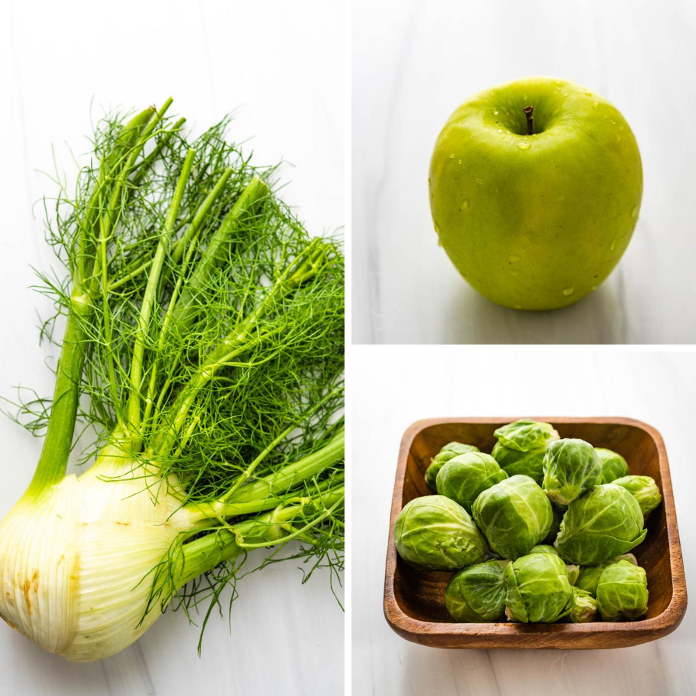 collage of veggies: fennel, brussels sprouts and an apple for the shaved slaw.