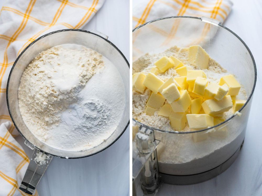 Steps of cutting butter into the flour mixture using a food processor.