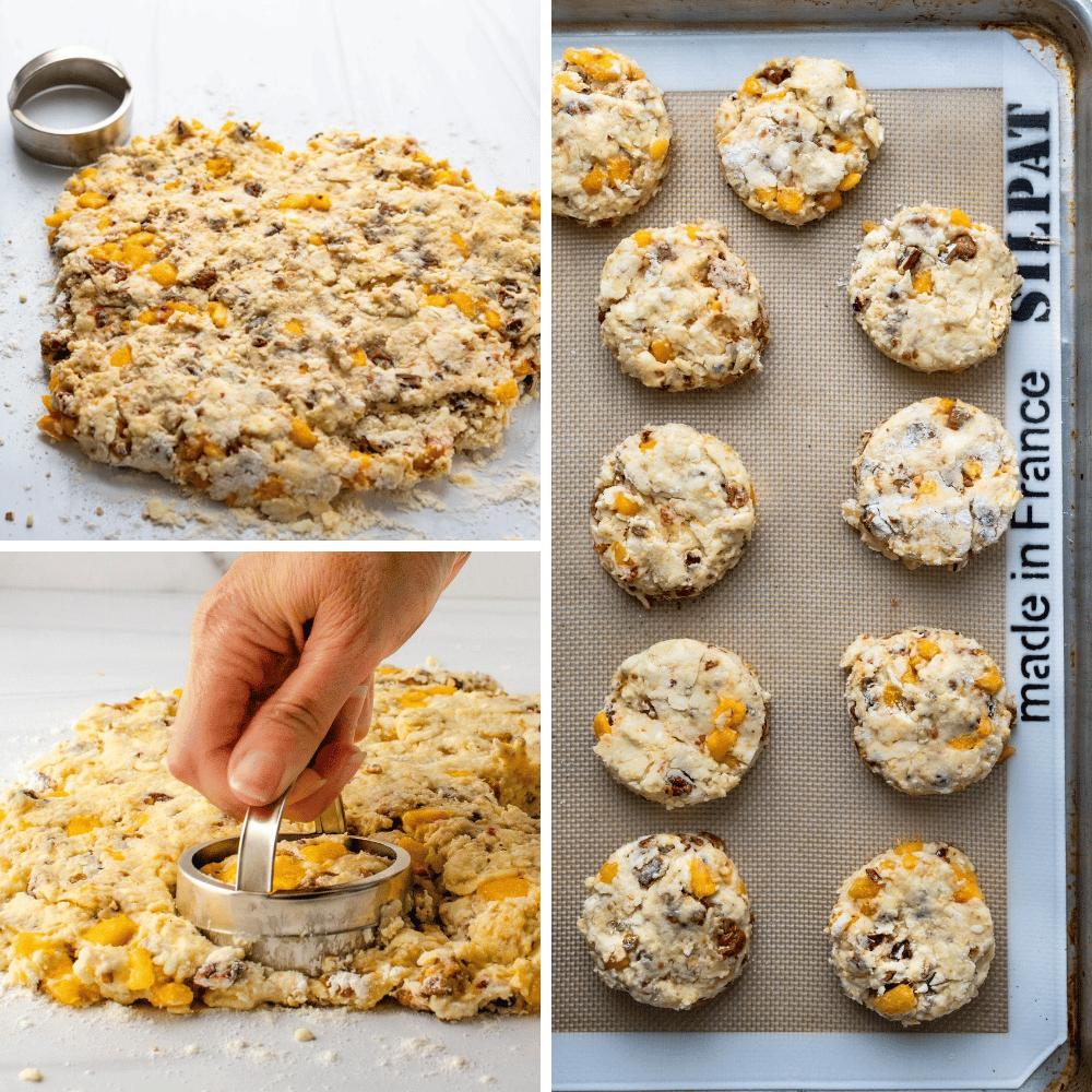 cutting the peach buttermilk scones with a biscuit cutter