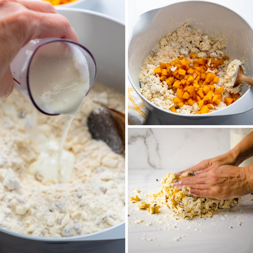 adding buttermilk and peaches to dry ingredients and patting into a round.