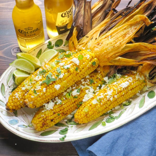 Grilled Chipotle Lime Corn with bottled beer.