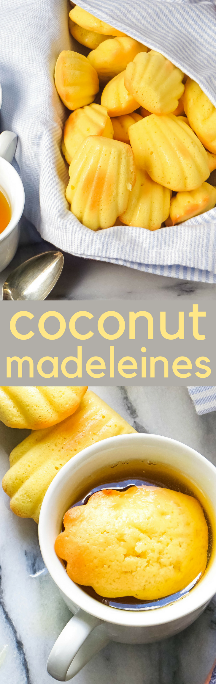 This authentic madeleine recipe is an easy to make snack. A cross between sponge cake and cookie coconut madeleines go great with tea! #cookies #christmascookies #madeleines #coconut #christmas #holidaycookies #dessert #desserts #spongecake #proust #madeleinerecipe #