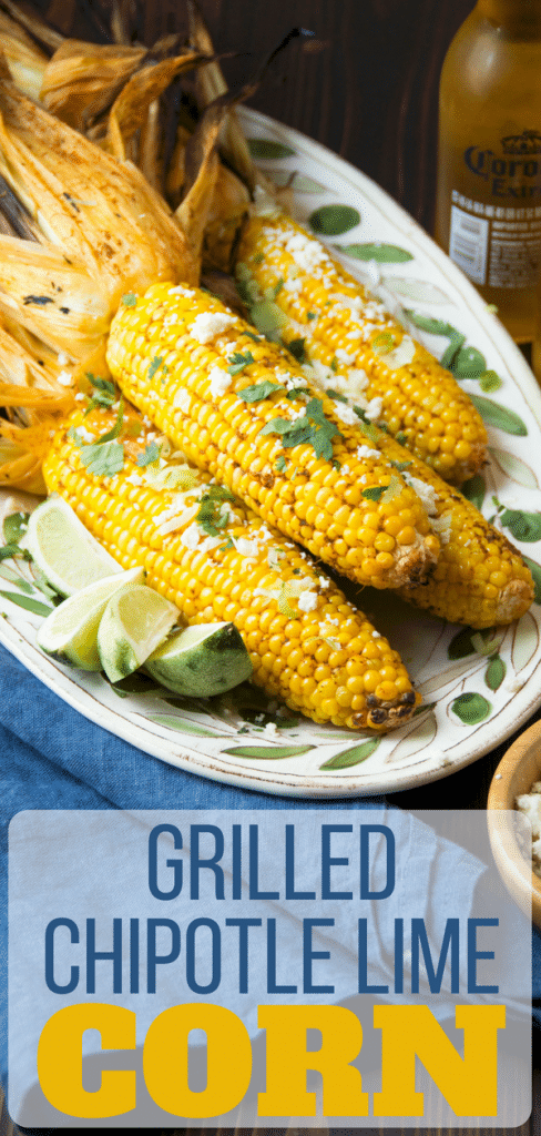 The best grilled corn on the cob is easy to make, too! Grilled Chipotle Lime Corn takes it's cues from Mexican street corn on the cob with queso fresco and lime, but the smoky chipotle compound butter adds depth. See how to grill corn on the cob in the husk and enjoy it all summer. #corn #summercorn #grilledcorn #grilledvegetables #lime #chipotle #quesofresco #cilantro #grilledcornonthecob #mexicanstreetcorn