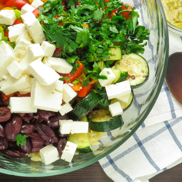 Salad ingredients in a bowl.