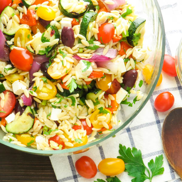 Grilled Greek Orzo Salad in a bowl.