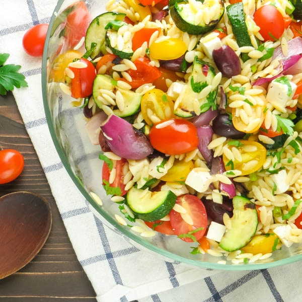 Overhead shot of Grilled Greek Orzo Salad
