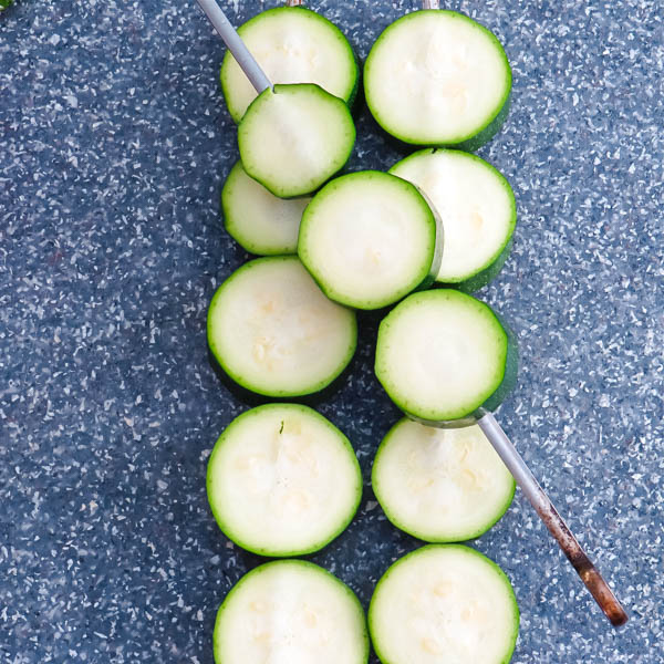 skewered zucchini rounds