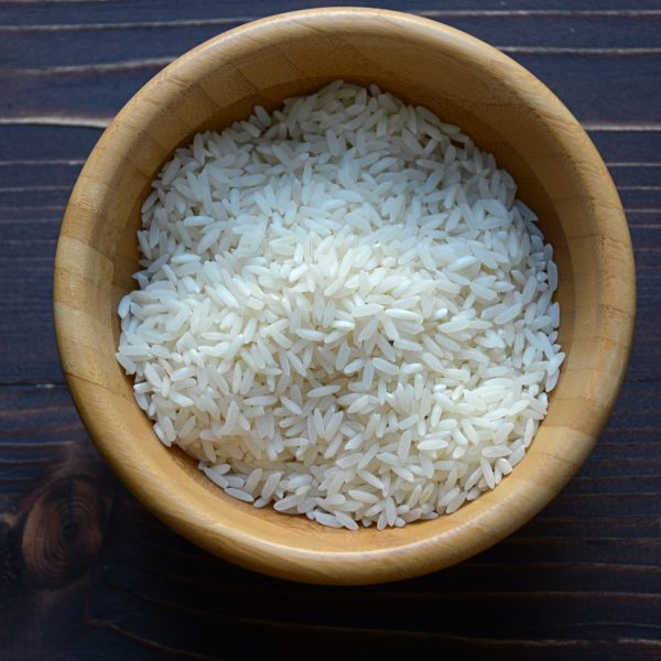 rice in a bowl.