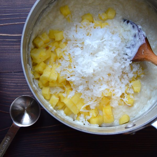 coconut and pineapple added to rice pudding