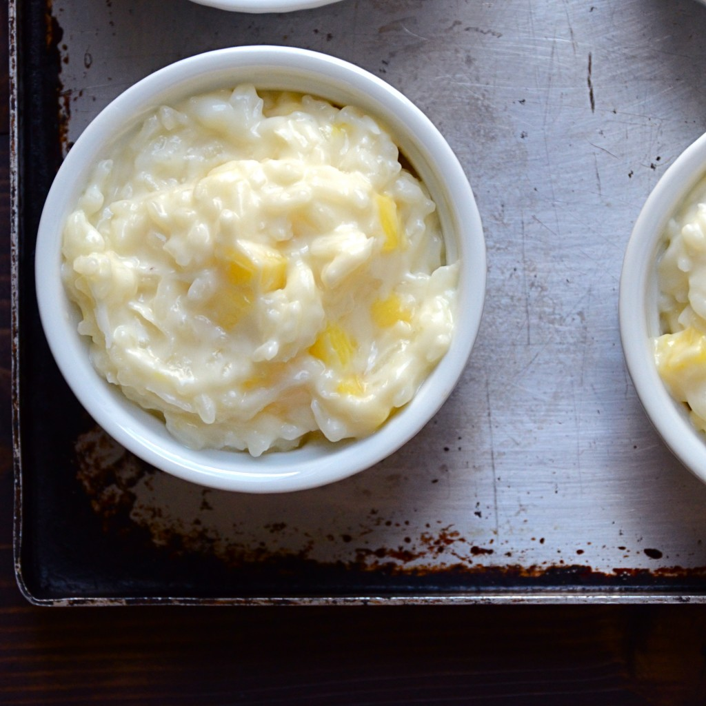 pina colada rice pudding in a ramekin