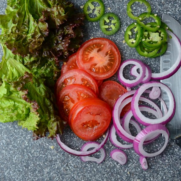 lettuce tomatoes, onions, jalapenos