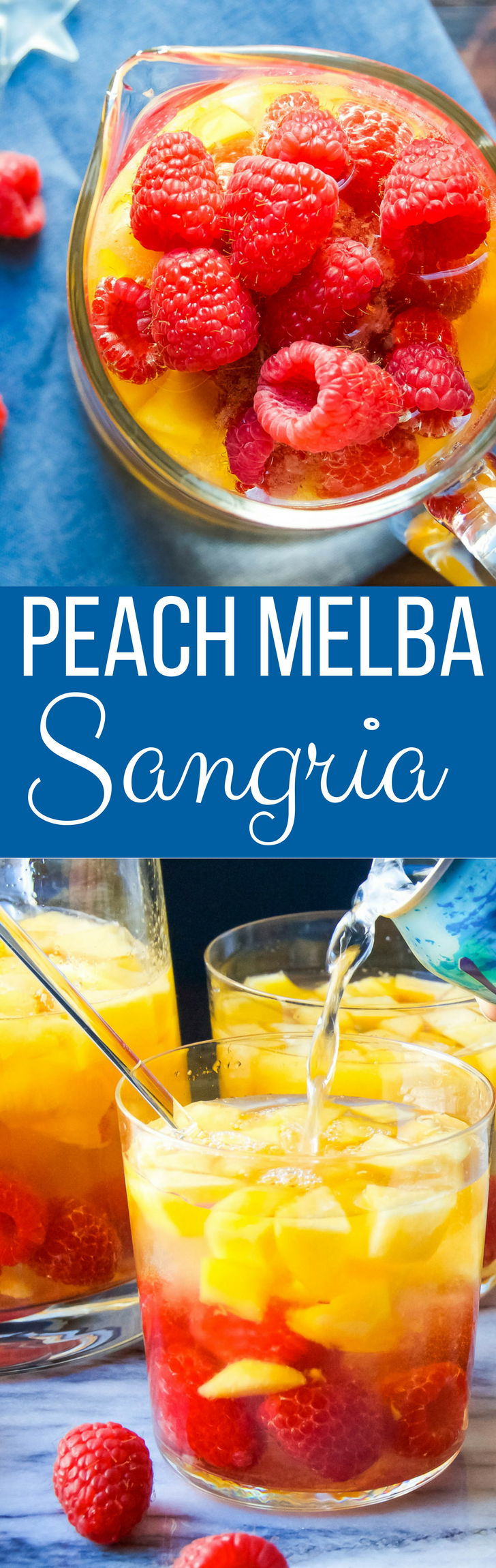 This easy Peach Melba Sangria recipe is a twist on the classic. Chilled white wine and peach schnapps loaded with ripe fruit for a refreshing summer sipper!
