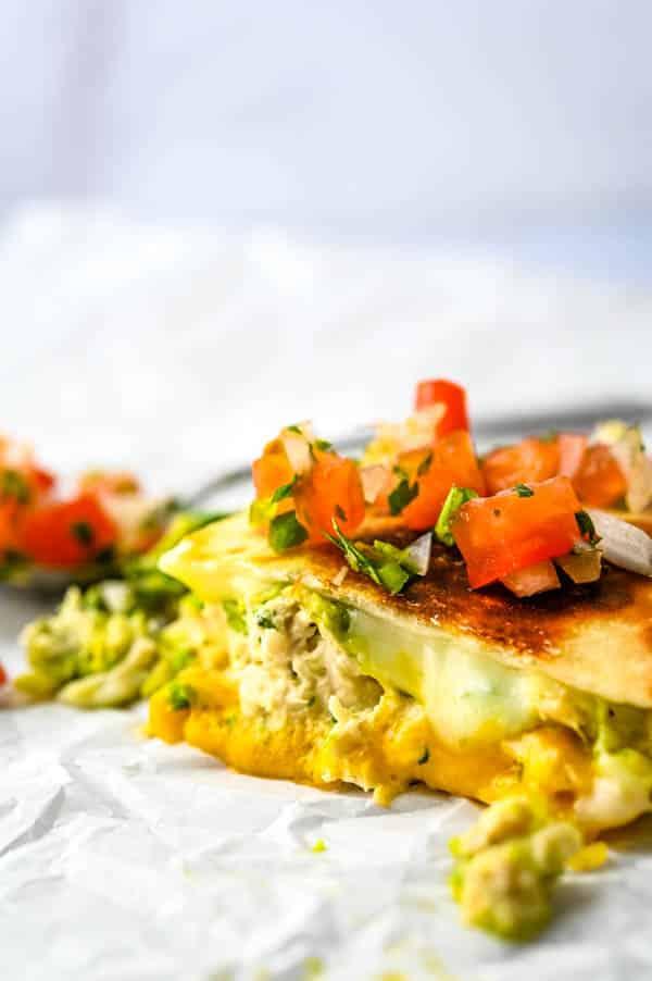 closeup of tuna quesadilla with pico de gallo.