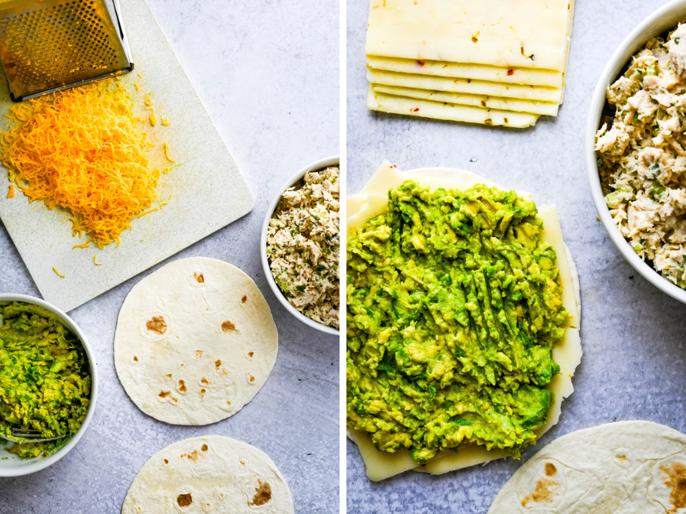 spreading tortilla with mashed avocado and arranging other ingredients.