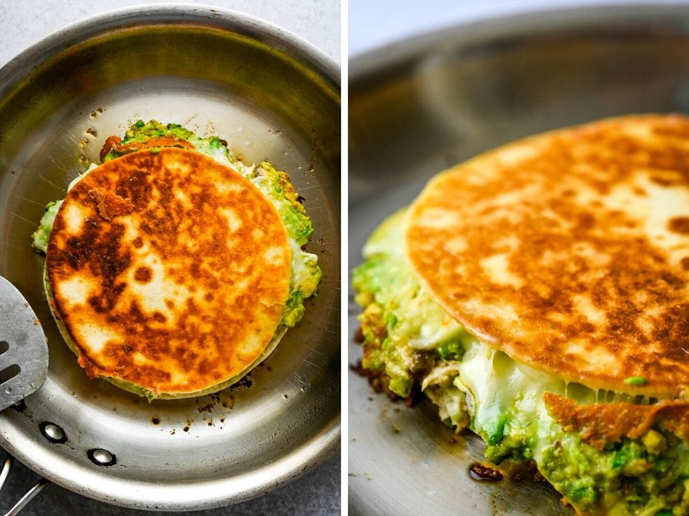 flipping the tuna melt quesadilla in the pan to crisp the tortilla and melt the cheeses.