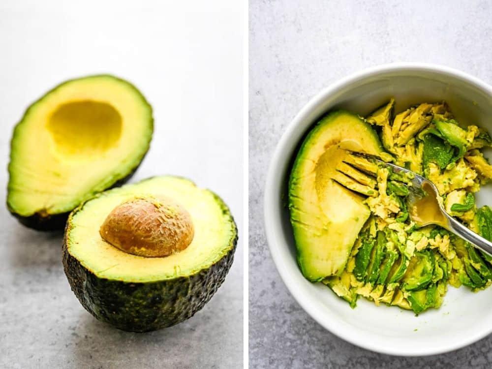 mashing avocado in a bowl.