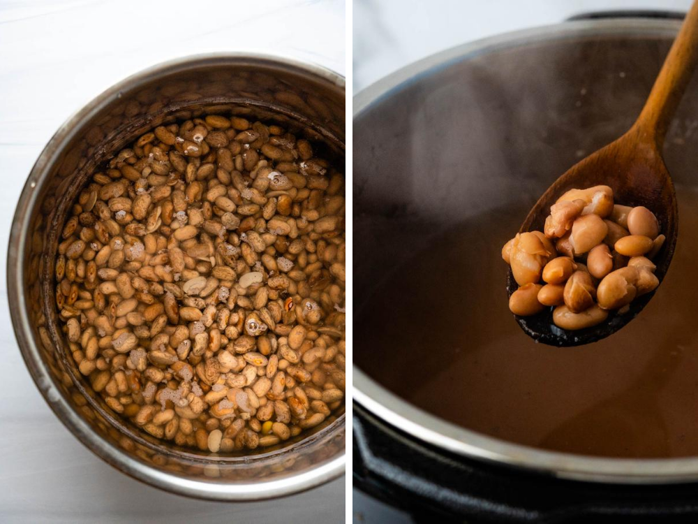 photo of legumes before and after cooking in an instant pot until they're creamy and tender.