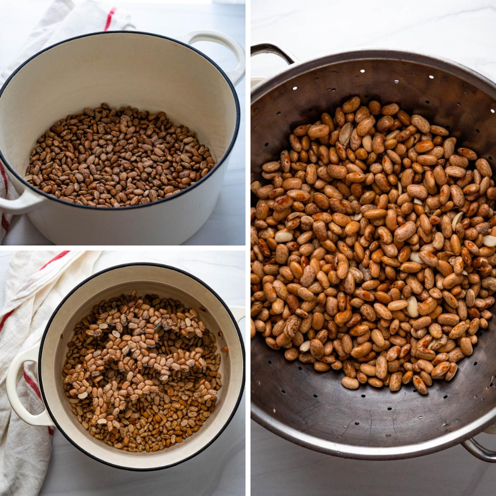 soaking pinto beans and draining them.