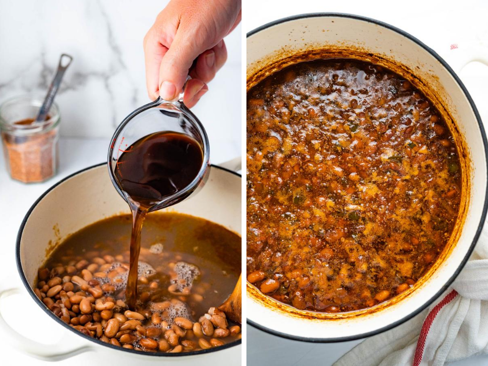 adding coffee to Southern baked beans and image of what they look like when baked.