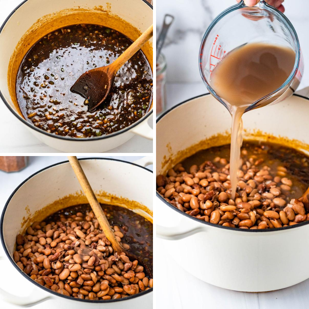 adding cooked beans and bean liquid to the BBQ seasoning.
