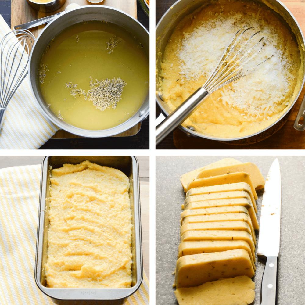 steps to make polenta loaf.