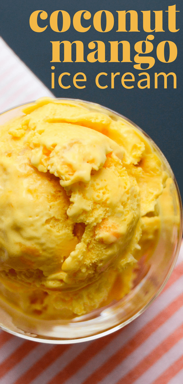 Ripe mangoes make the best homemade ice cream and if you like tropical ice cream flavors, this coconut mango ice cream is for you.  A delicious mango ice cream recipe made with an ice cream maker is the only way to get that fresh churned flavor. #mango #coconut #icecream #mangoicecream #coconuticecream #churnedicecream #tropicalicecream #tropicalfruit #icecreamwitheggs #eggcustard #icecreamcustard #mangodessert #mangorecipe #cream #icecreammaker