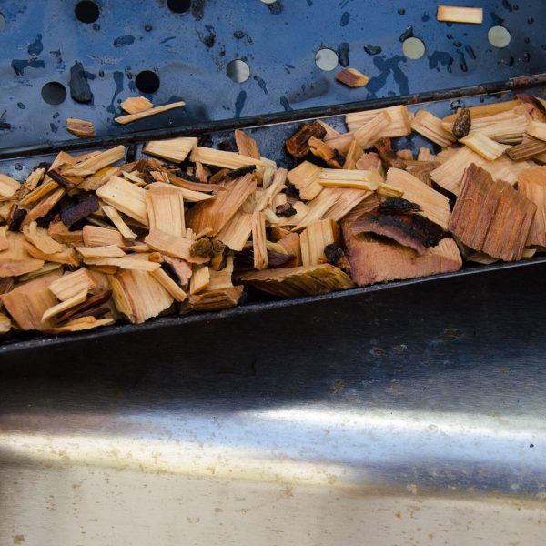 wood chips in smoker