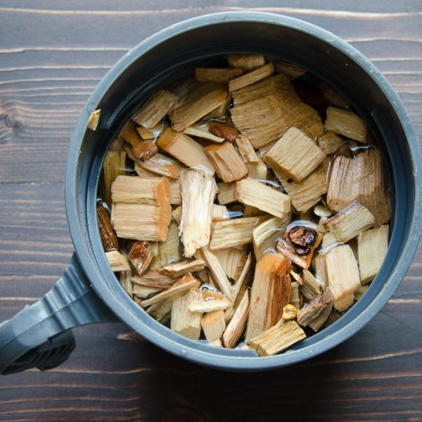 soaking wood chips
