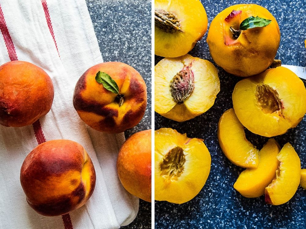 Peeling and slicing peaches for ice cream.