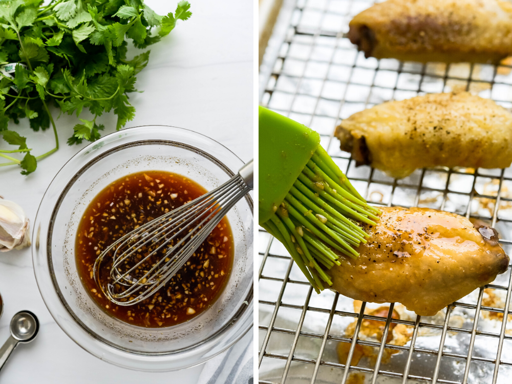 whisking the sauce and spreading it on honey sriracha chicken wings.