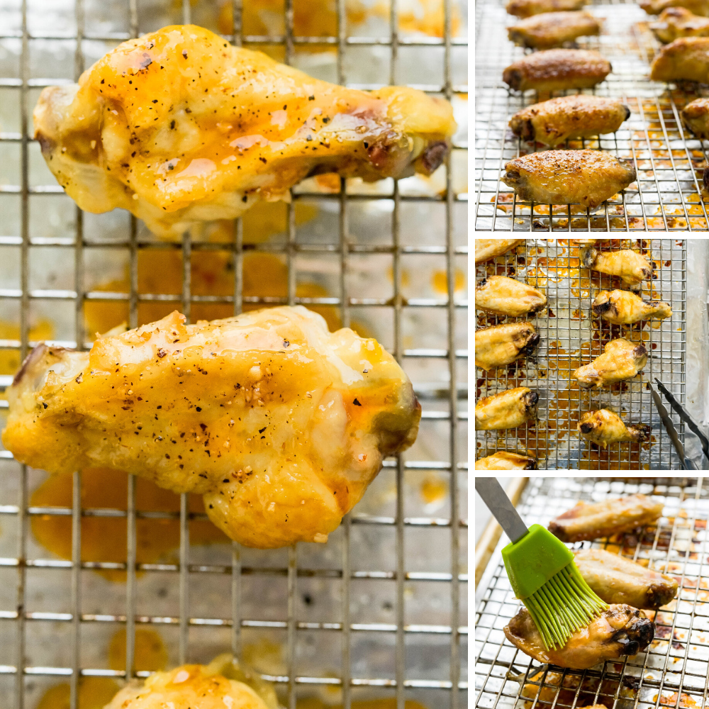 brushing sriracha honey wings with more sauce after the first bake.