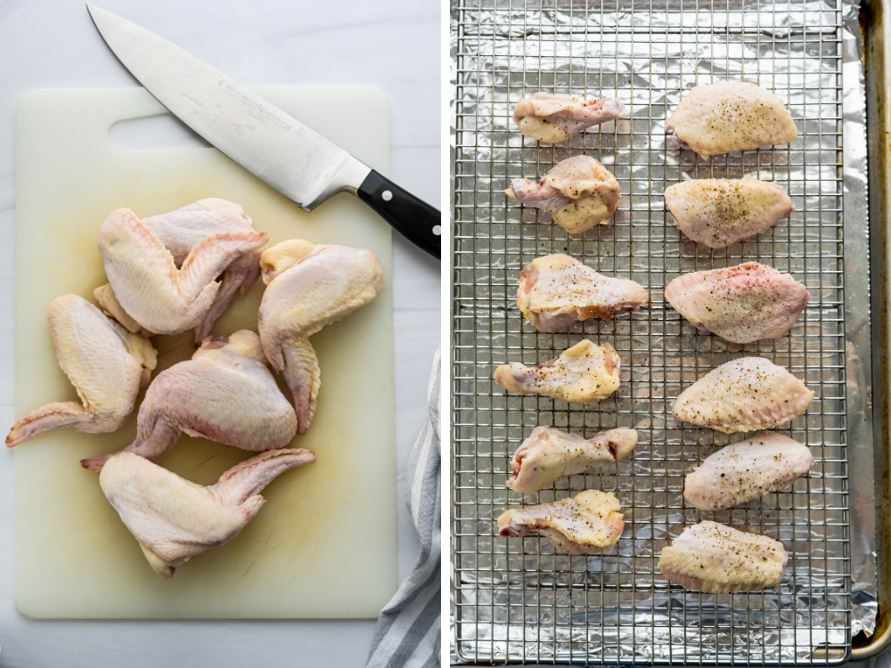 Separating chicken wings into drums and flats and resting them on a sheet pan with a wire rack.