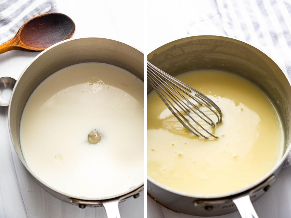 cooking the ice cream custard.