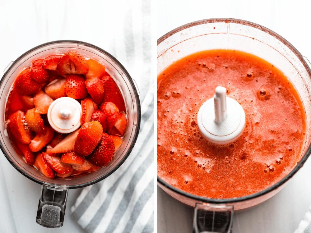 Pureeing strawberries for the daiquiri ice cream.
