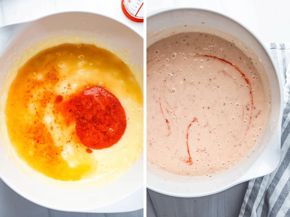 adding rum and strawberry puree to the homemade ice cream base.
