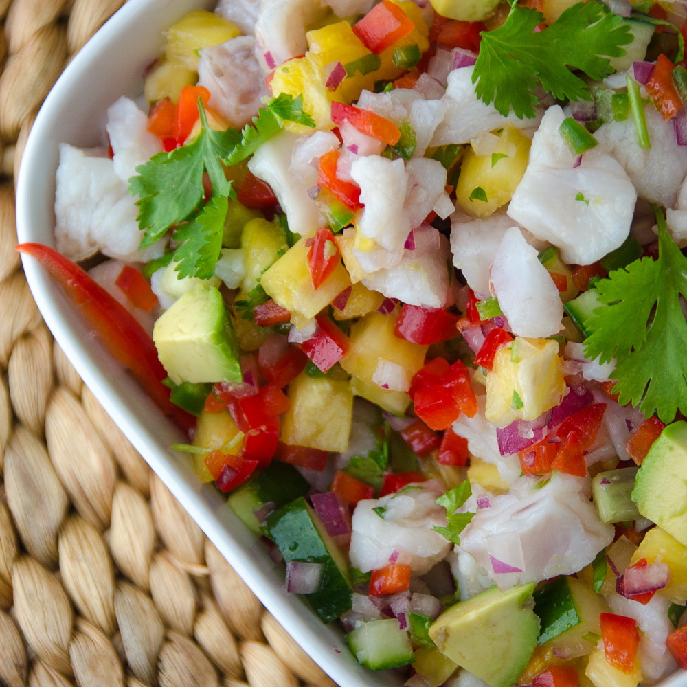Snapper and Pineapple Ceviche on a mat