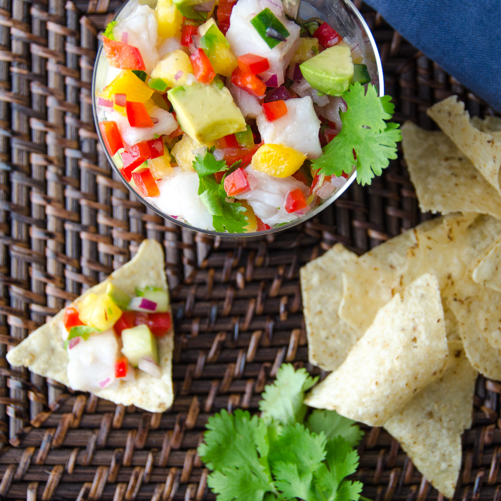 Snapper and Pineapple Ceviche with chips